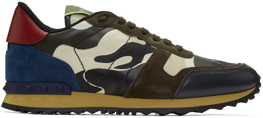 Valentino Off-white and Brown Camo Rockrunner Sneakers