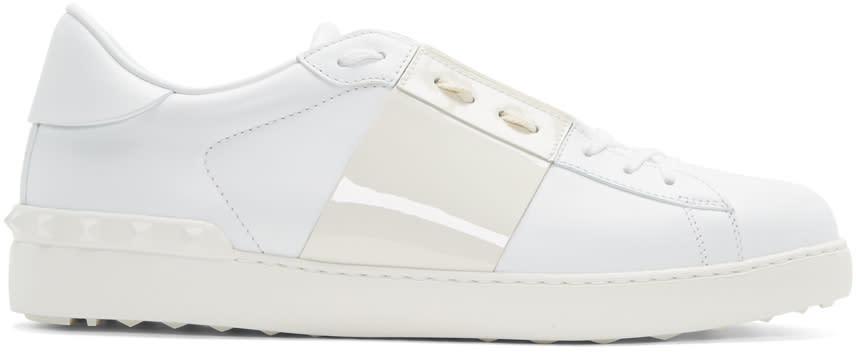 Valentino White Patent Stripe Open Sneakers
