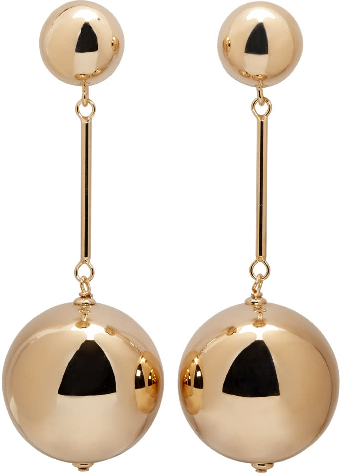 J.w. Anderson Gold Sphere Drop Earrings