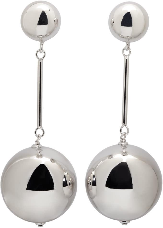 J.w. Anderson Silver Sphere Drop Earrings