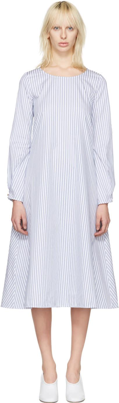J.w. Anderson White Striped Front Detail Dress