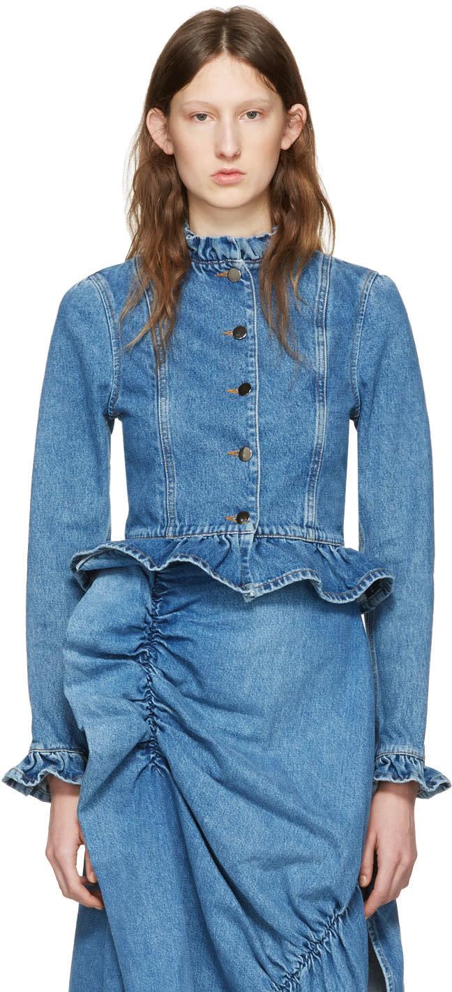 J.w. Anderson Blue Denim Ruffle Jacket