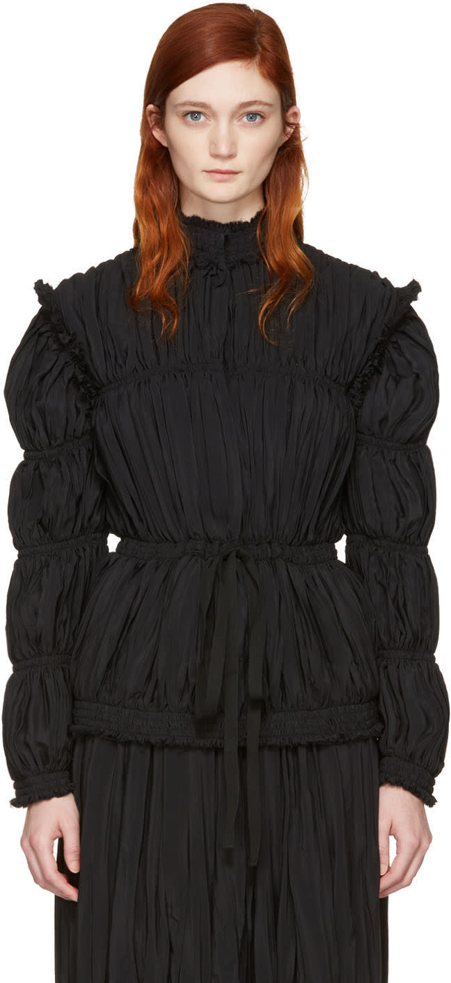 J.w. Anderson Black Pleated Jacket