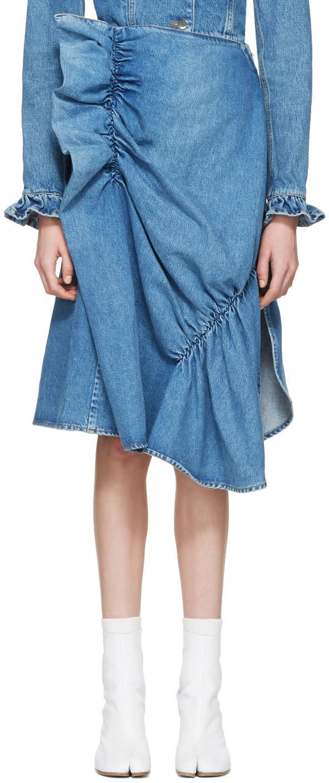 J.w. Anderson Indigo Denim Ruffle Skirt