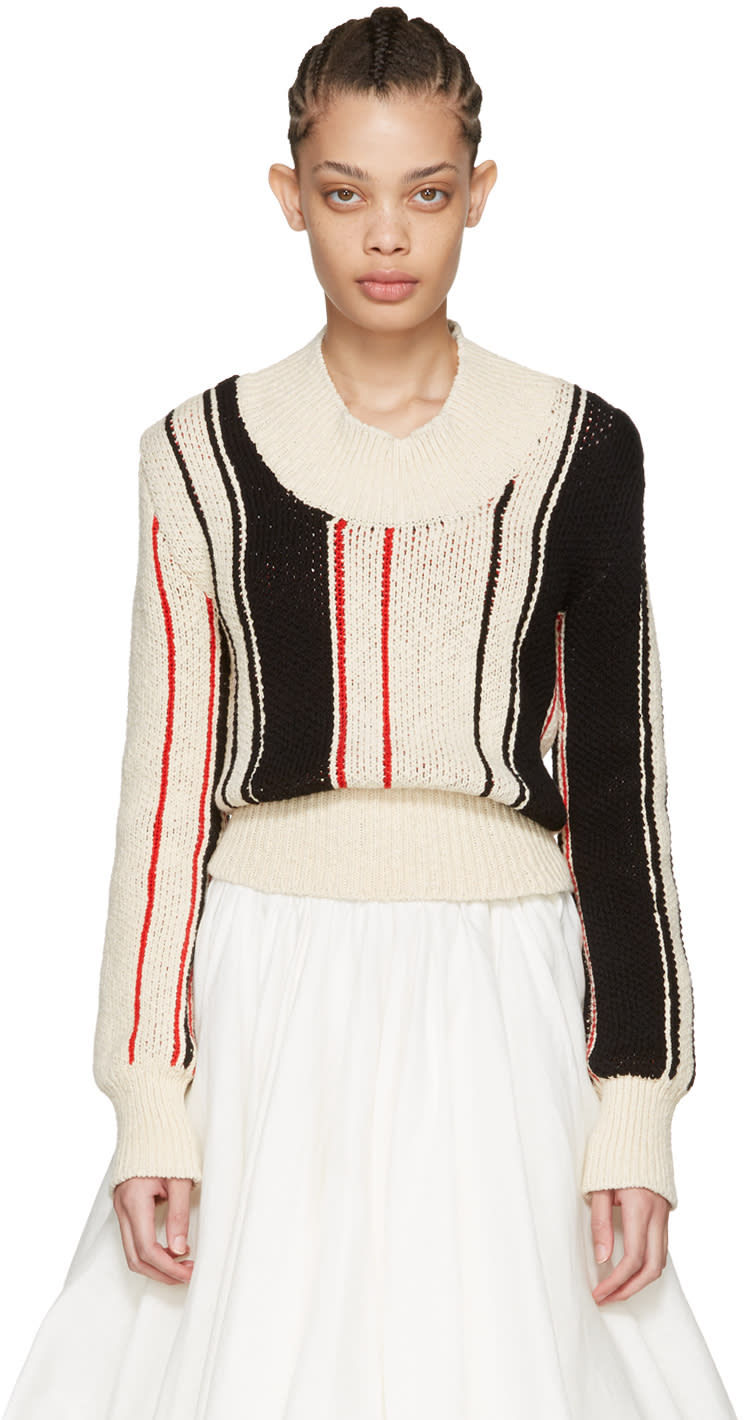 J.w. Anderson Off-white Striped Scoop Sweater