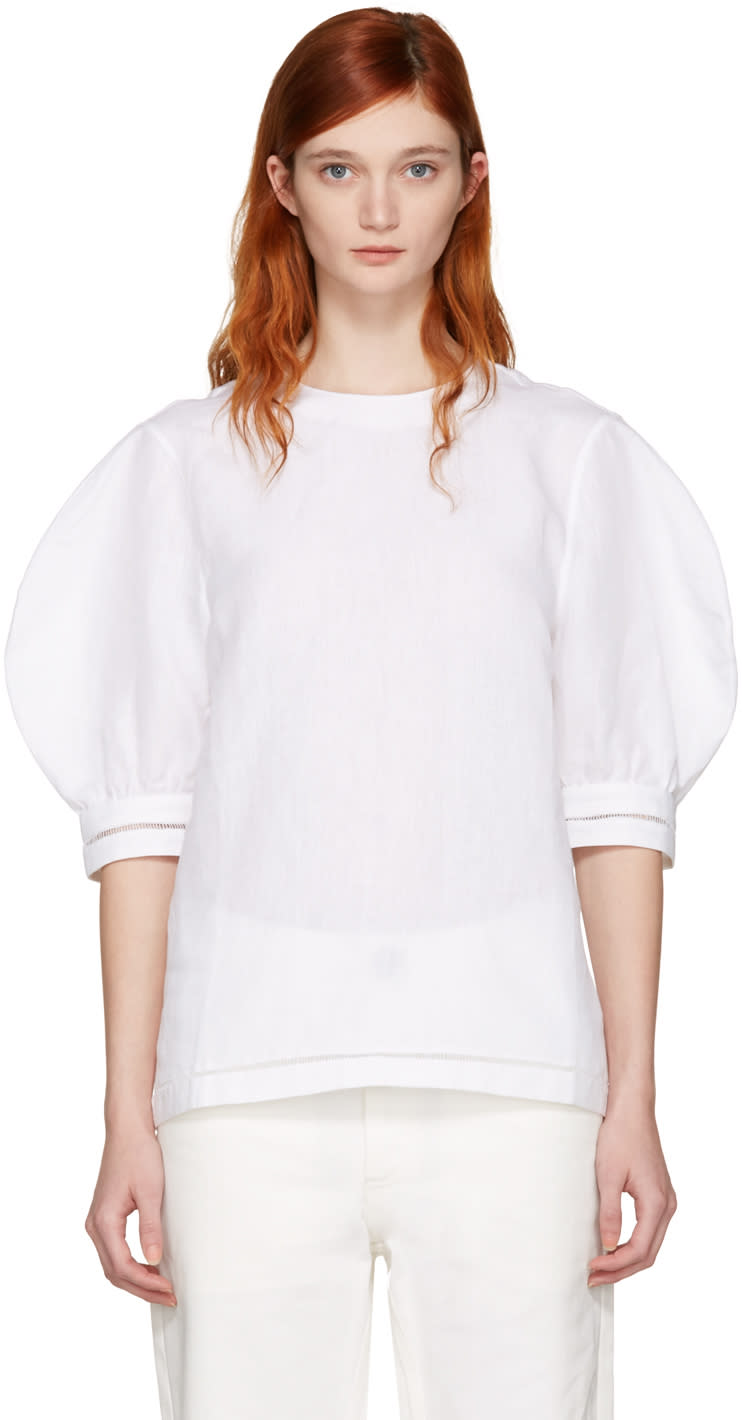 J.w. Anderson White Puff Sleeve Blouse