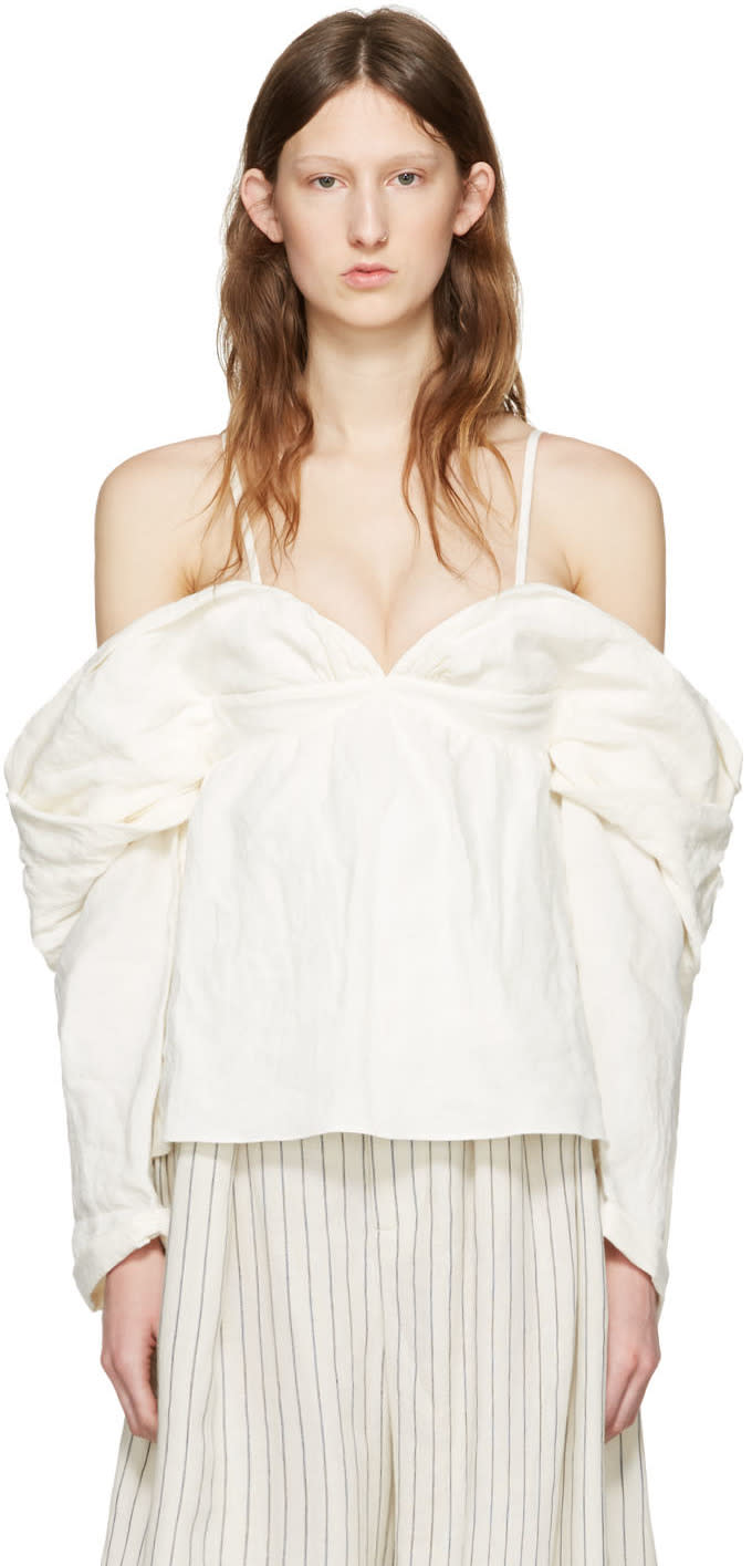 J.w. Anderson Off-white Off-the-shoulder Top
