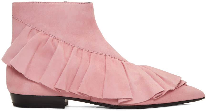 J.w. Anderson Pink Suede Ruffle Boots