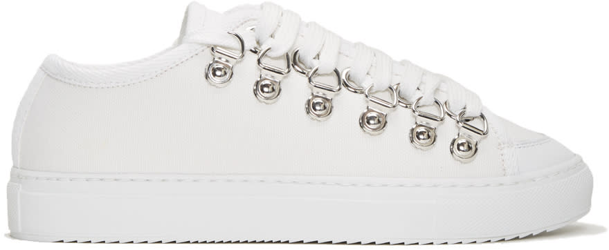 J.w. Anderson White Canvas Sneakers