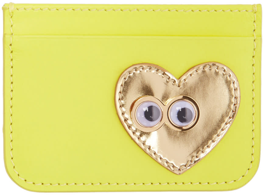 Sophie Hulme Yellow Heart and Eyes Rosebery Card Holder