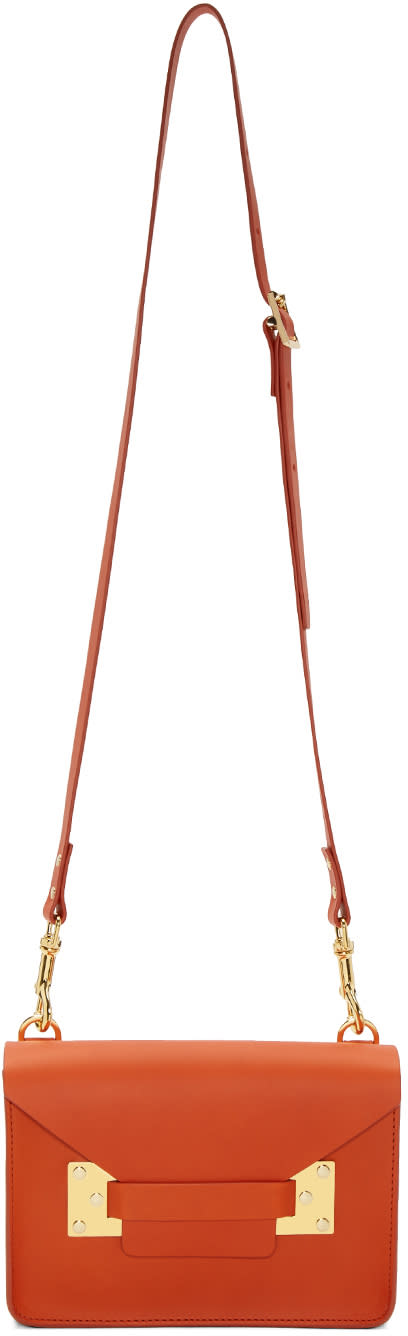 Sophie Hulme Orange Mini Milner Crossbody Bag