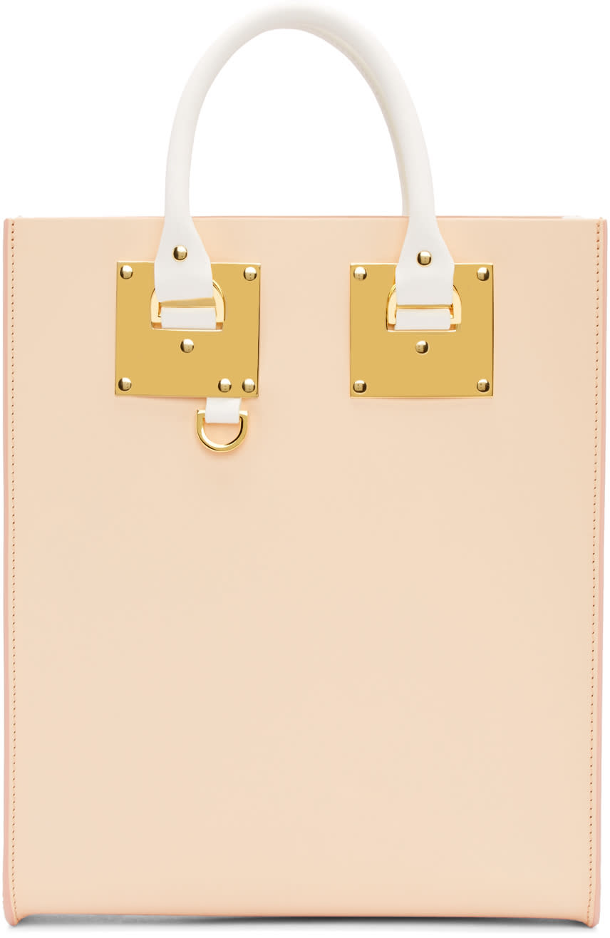 Sophie Hulme Ssense Exclusive Pink and White Mini Albion Tote