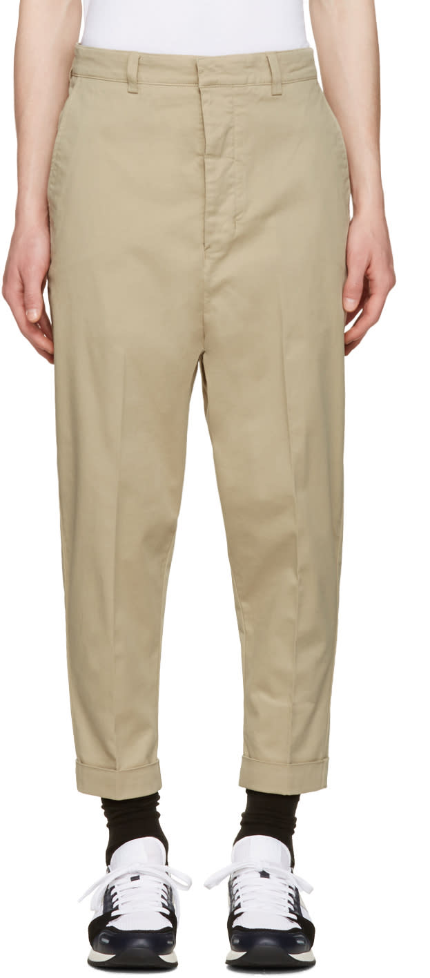 Image of Ami Alexandre Mattiussi Beige Oversized Carrot Trousers