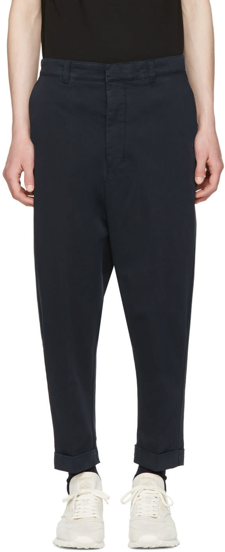Ami Alexandre Mattiussi Navy Oversized Carrot Trousers