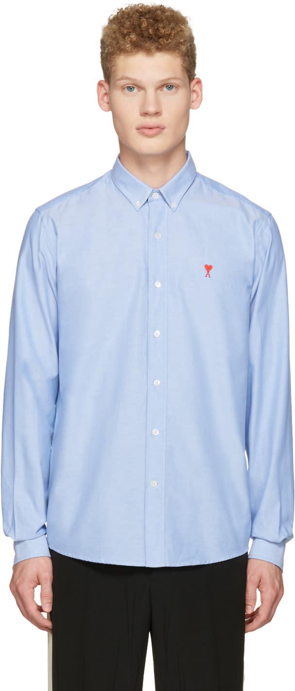 Ami Alexandre Mattiussi Blue Ami Coeur Embroidery Shirt