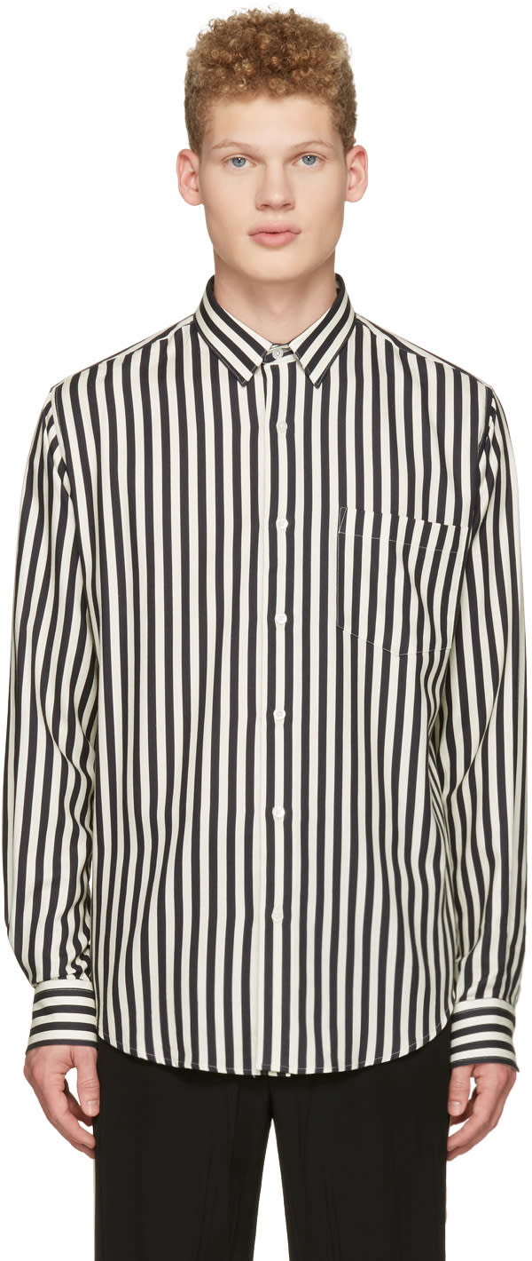 Ami Alexandre Mattiussi Off-white Striped Patch Pocket Shirt