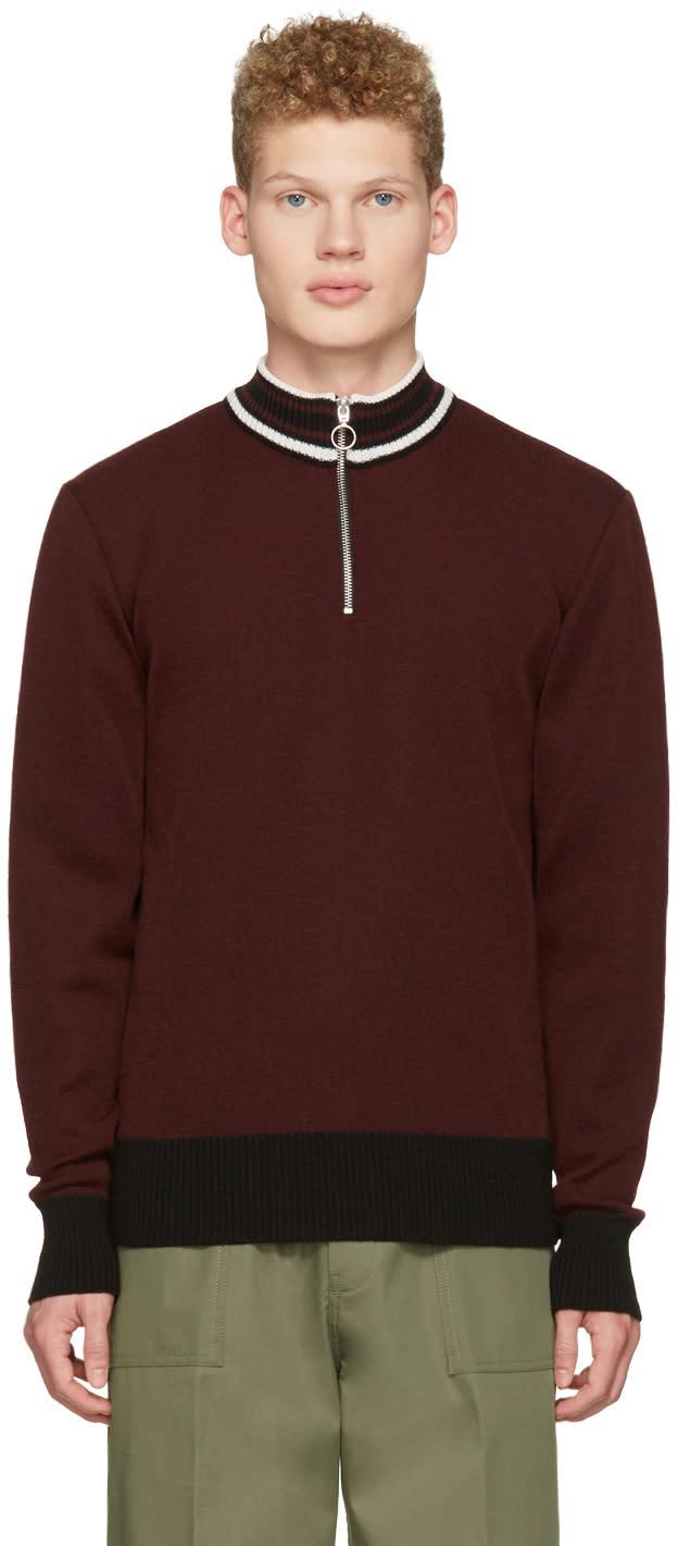 Ami Alexandre Mattiussi Burgundy Half-zipped Sweater