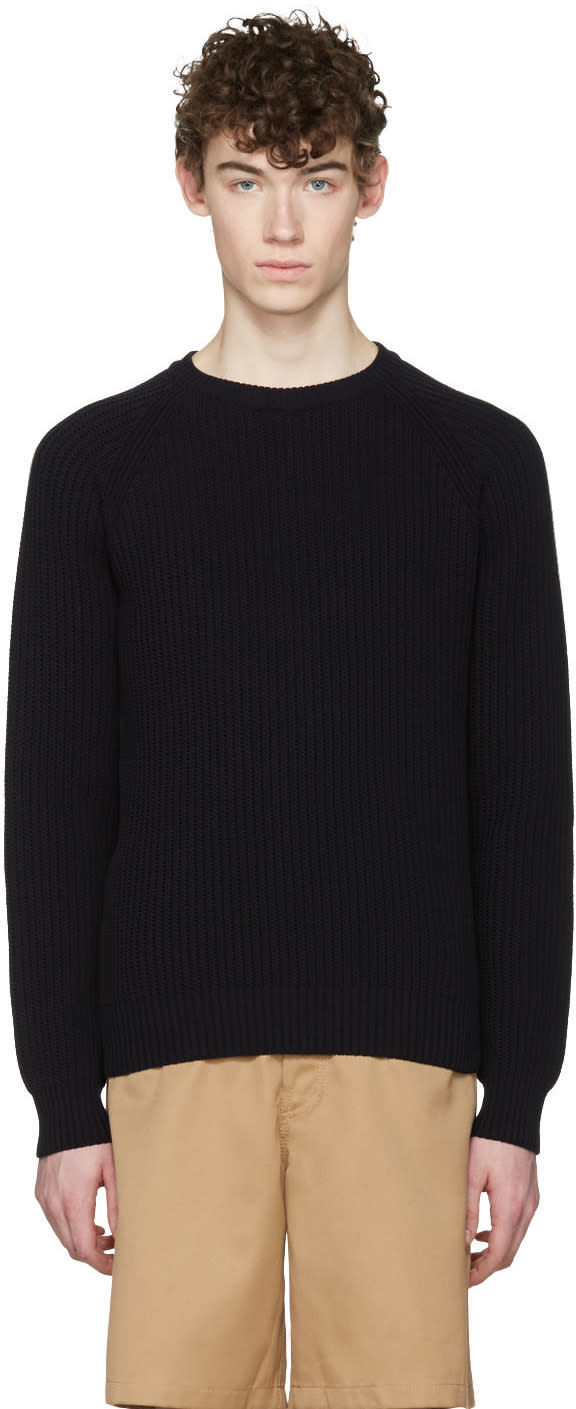 Ami Alexandre Mattiussi Navy Ribbed Sweater