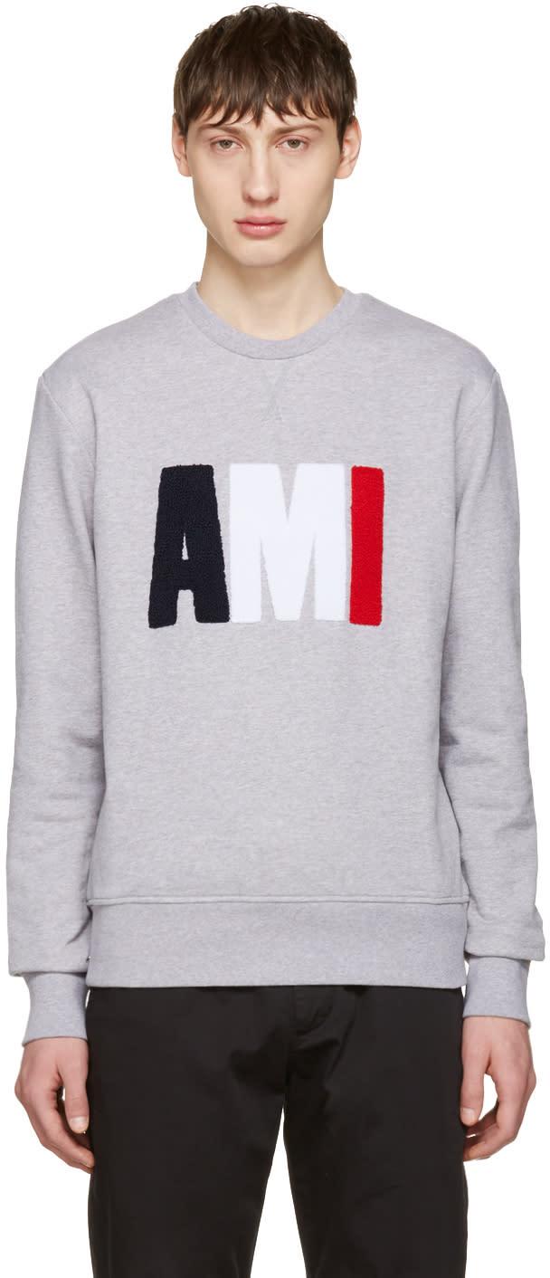 Ami Alexandre Mattiussi Grey Logo Pullover