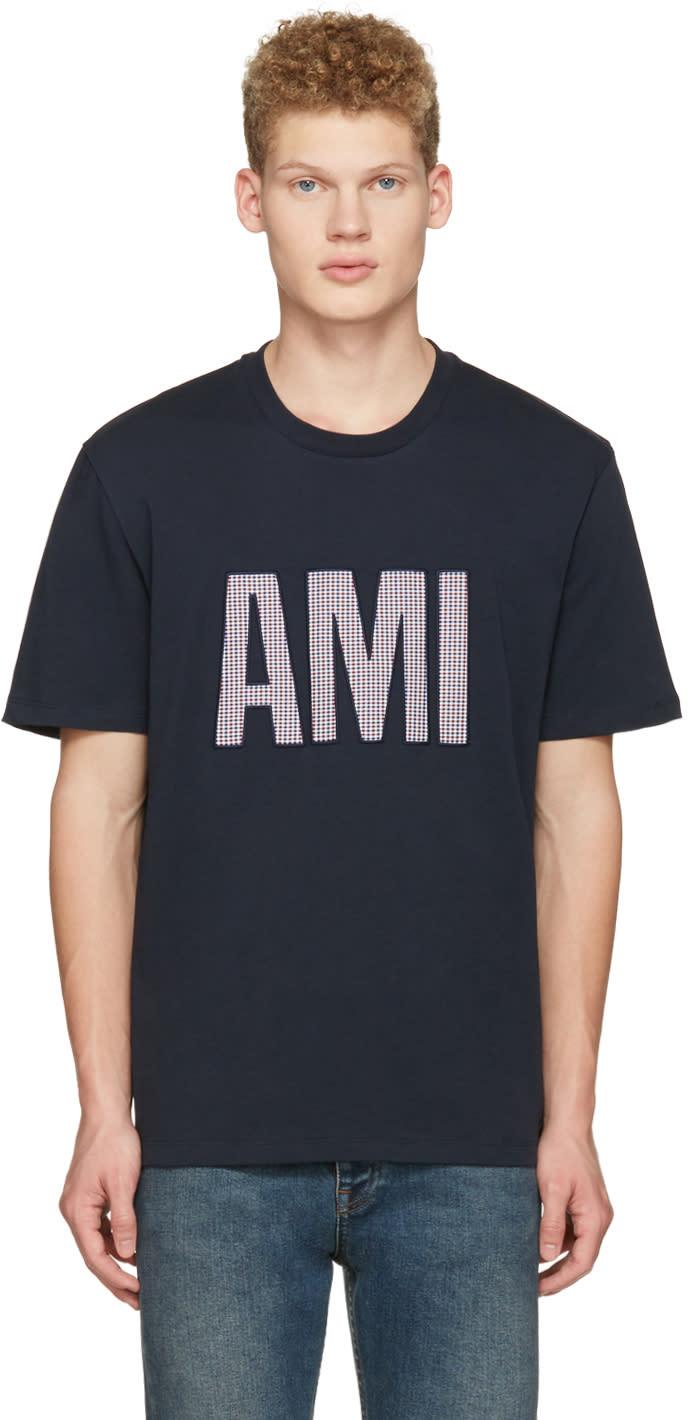 Ami Alexandre Mattiussi Navy Cotton Letters T-shirt