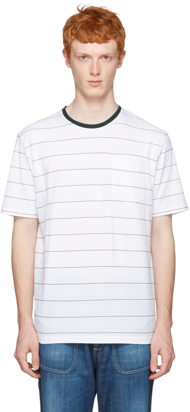 Ami Alexandre Mattiussi White and Green Striped T-shirt