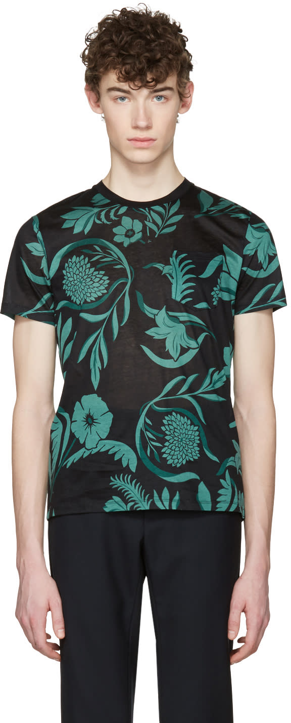 Image of Ami Alexandre Mattiussi Black and Green Floral T-shirt