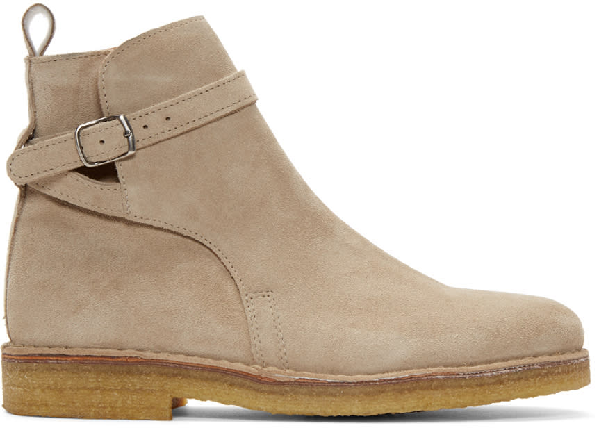 Image of Ami Alexandre Mattiussi Beige Suede Buckle Boots