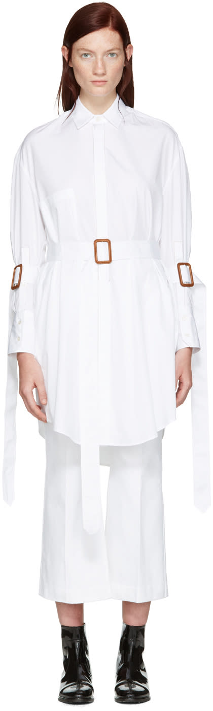 Calvin Klein Collection White Belted Katia Tunic
