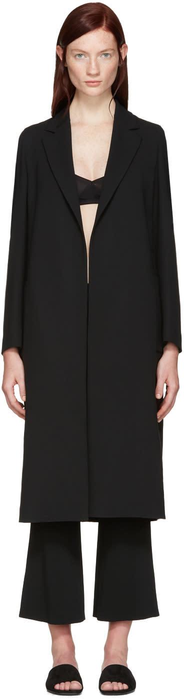 Calvin Klein Collection Black Crepe Belted Kred Coat