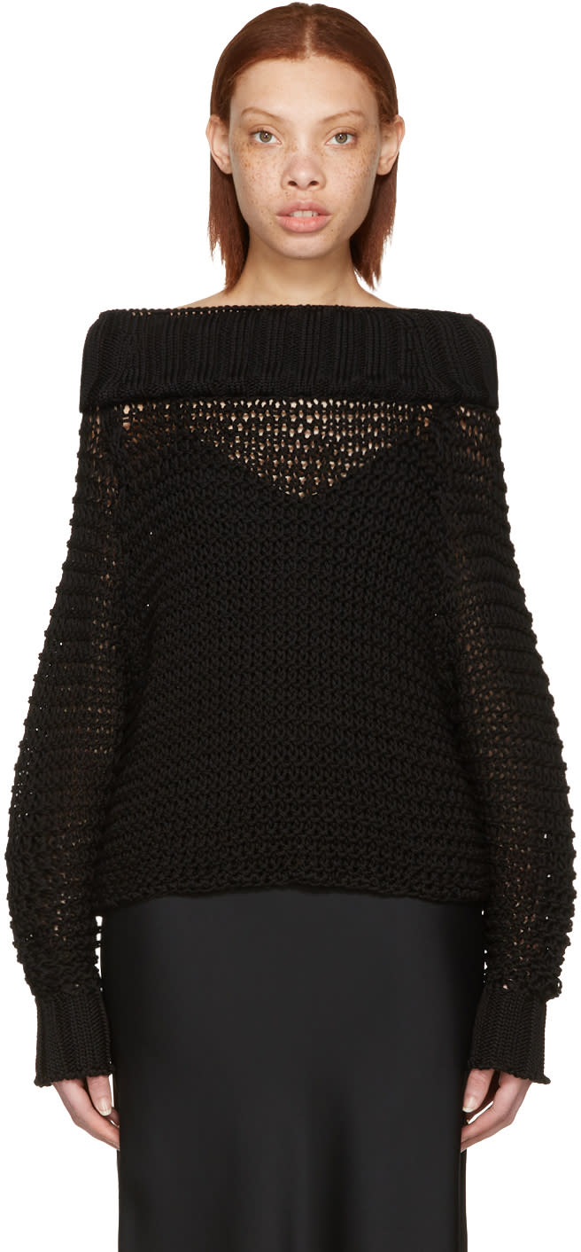 Calvin Klein Collection Black Ebner Off-the-shoulder Sweater