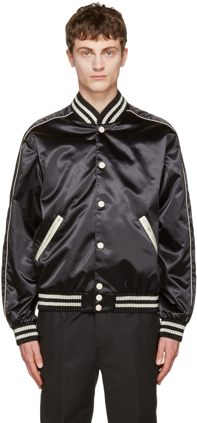 Calvin Klein Collection Black Satin Rankin Bomber Jacket