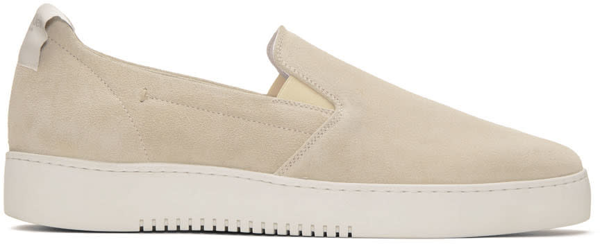 Calvin Klein Collection Off-white Suede Urban Slip-on Sneakers