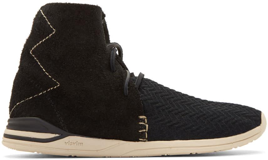 Visvim Black Huron Mesh Moc Hi-folk Sneakers