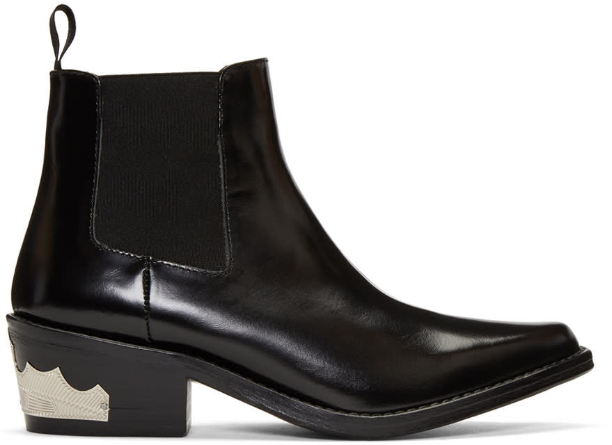 Toga Pulla Black Harness Chelsea Boots