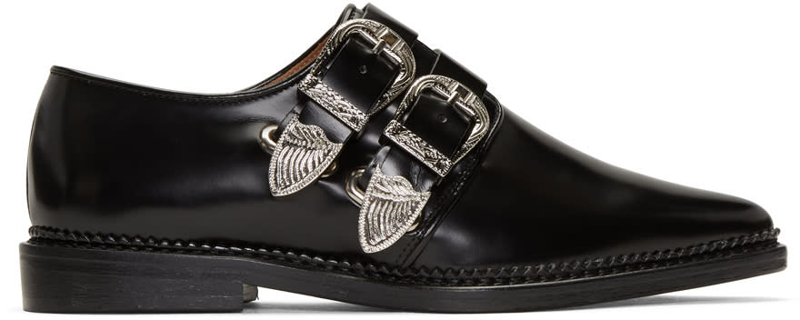Toga Pulla Black Two-buckle Loafers