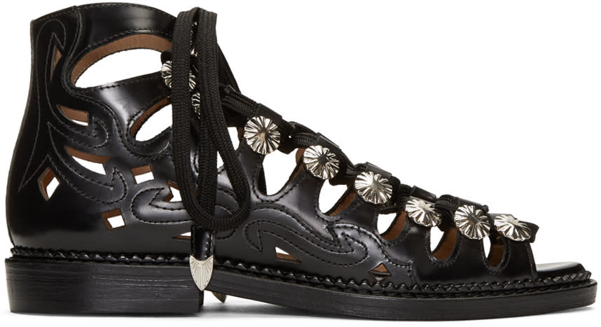 Toga Pulla Black Lace-up Sandals