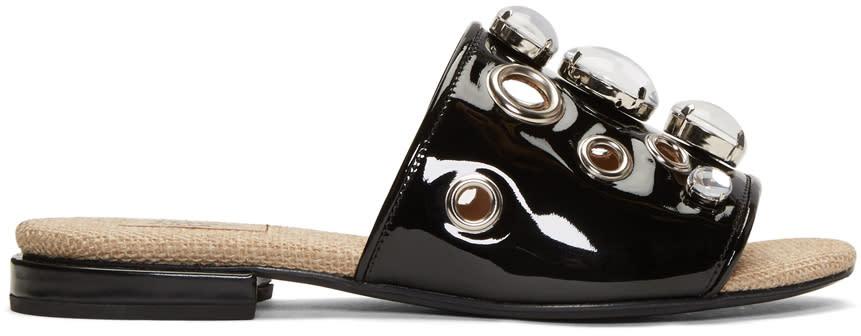 Toga Pulla Black Embellished Slide Sandals