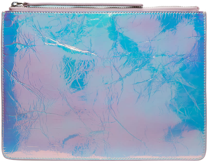 Kara Iridescent Crinkled Leather Zip Pouch