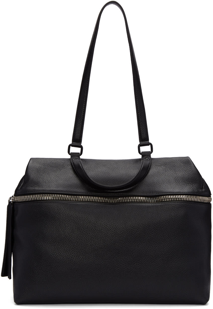Kara Black Leather Satchel