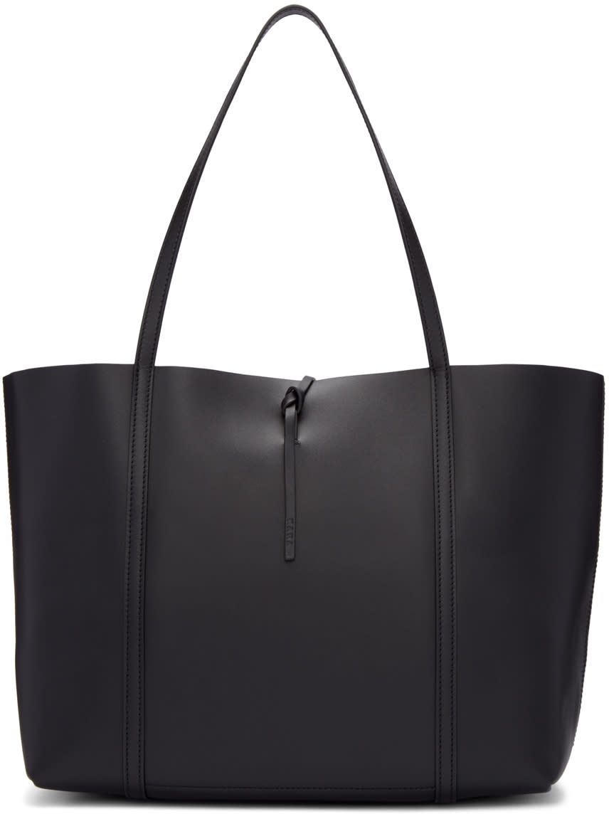 Kara Black Leather Tie Tote