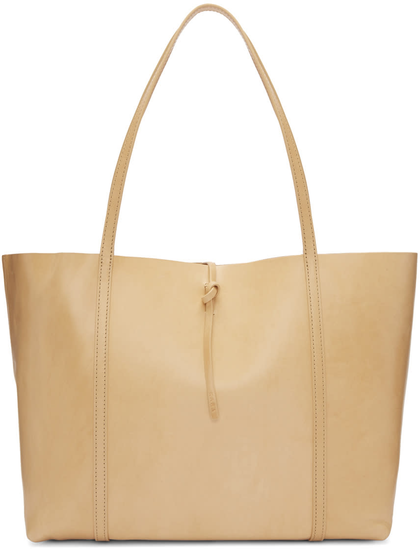 Kara Beige Leather Tie Tote