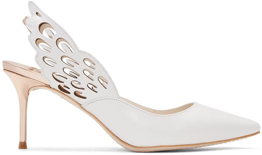 Sophia Webster White Angelo Mid Slingback Heels