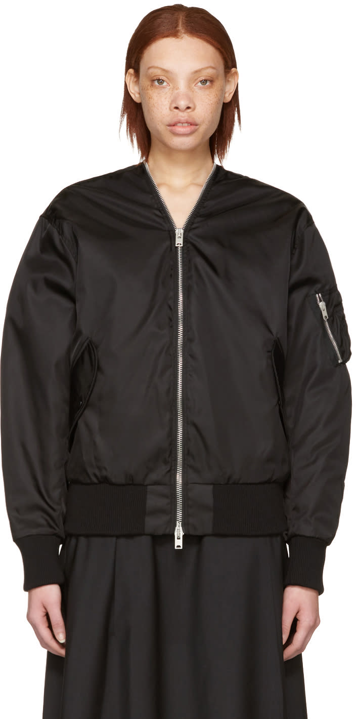 Yang Li Black Zipped Bomber Jacket
