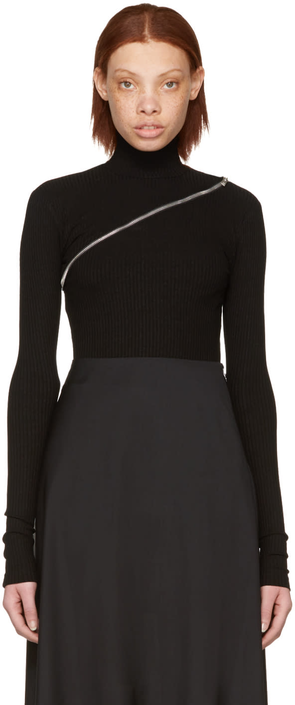 Yang Li Black Asymmetric Zip Turtleneck