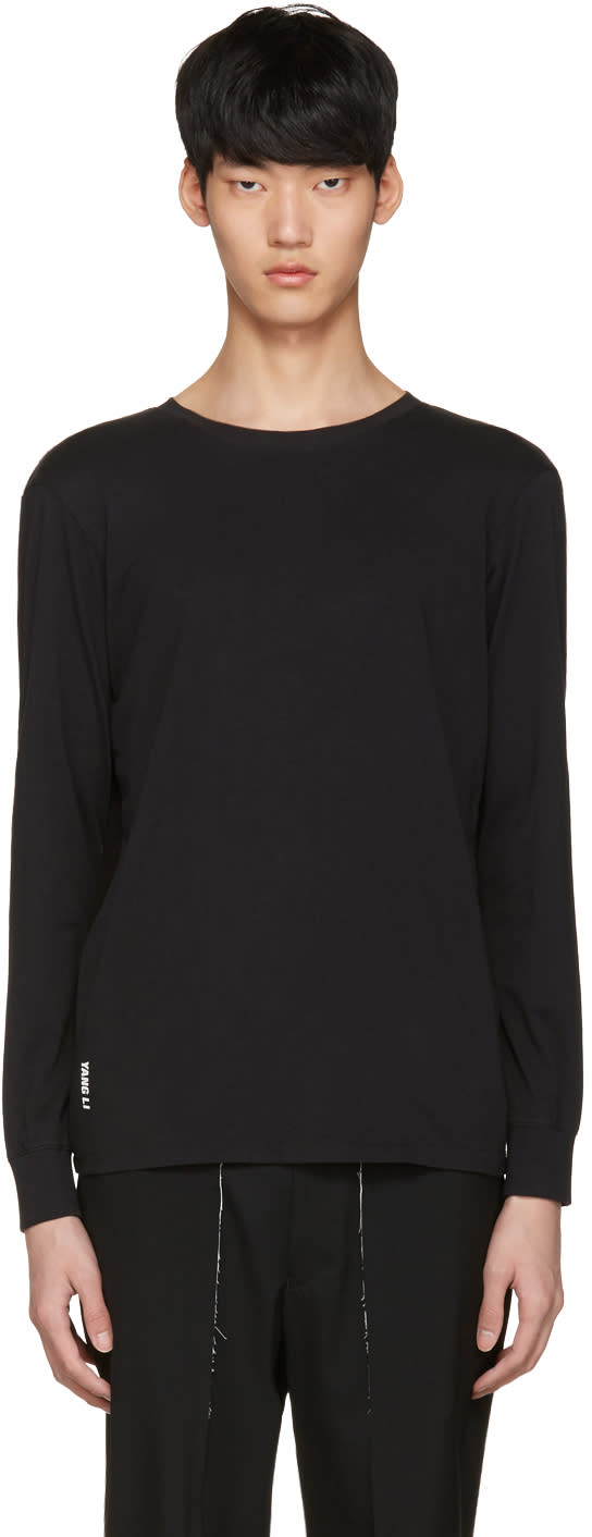 Yang Li Black Ribbed Panel Pullover