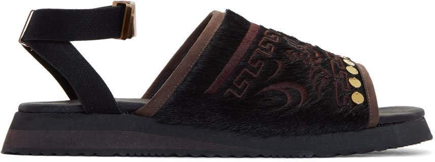 Kolor Black Embroidered Sandals
