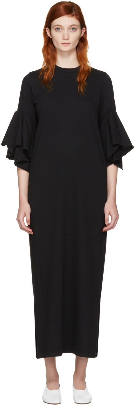 Facetasm Black Flare Sleeve Dress