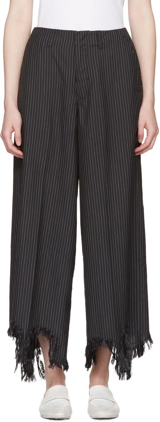 Facetasm Black Pinstripe Torn Hem Trousers