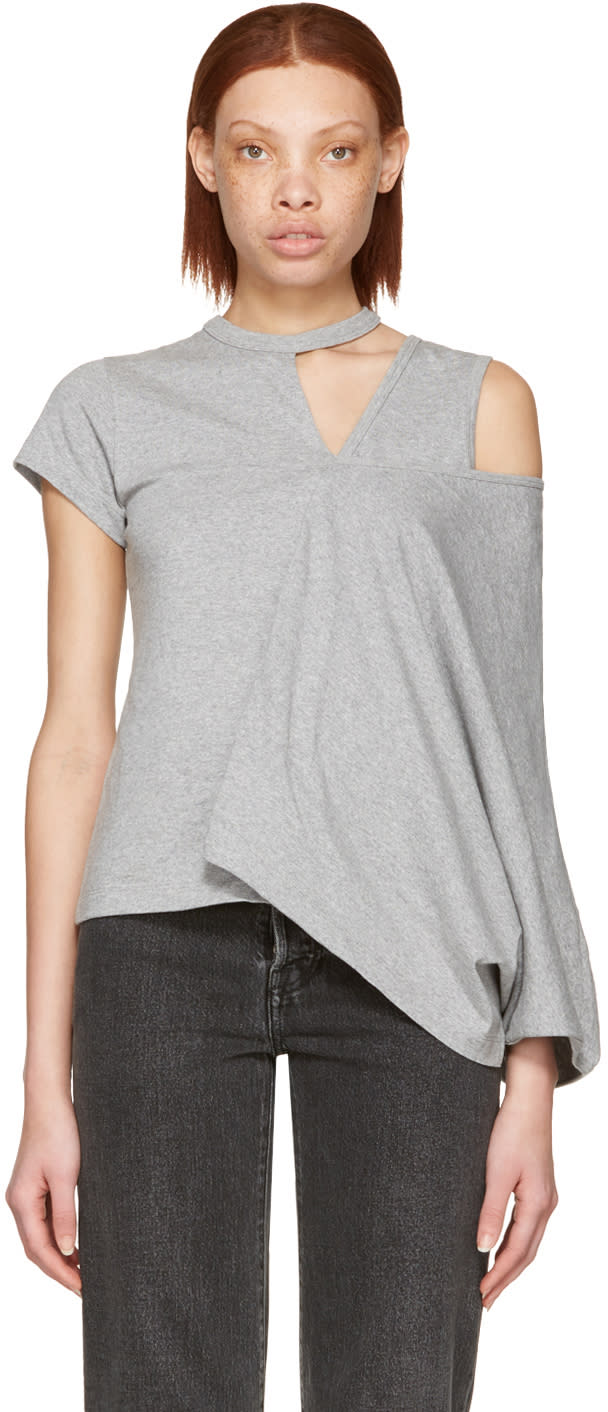 Image of Facetasm Grey Asymmetry T-shirt