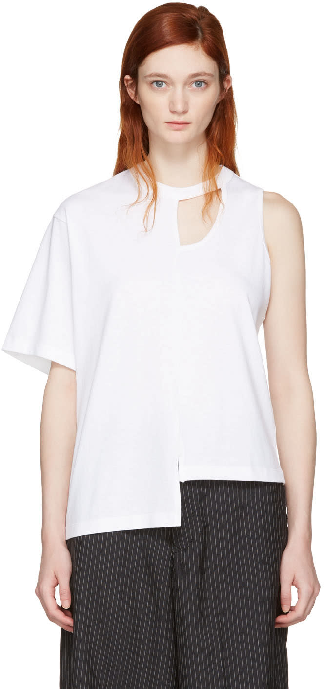 Facetasm White Asymmetry T-shirt